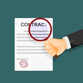Концепция инспекции контракта. руки, держа увеличительное стекло над контрактом. векторная иллюстрация