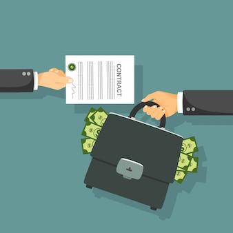 Долларовая банкнота. контракт концепции векторные иллюстрации.
