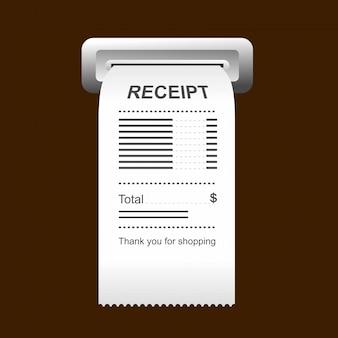 Значок квитанции в плоский стиль, изолированные на цветном фоне.