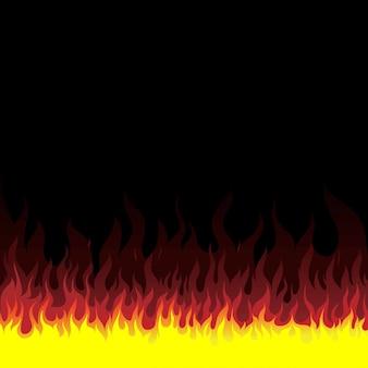 火の炎の背景。火のバナーのセット。ベクトルイラスト。