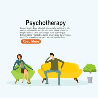 Практика психотерапии, консультация психиатра больного. лечение психических расстройств. векторная иллюстрация