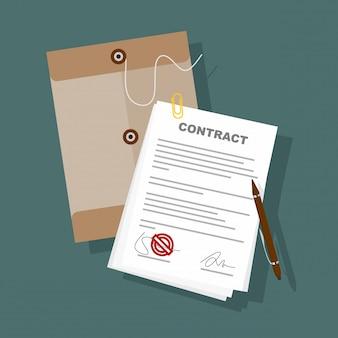Подписанная бумажная ручка договора подряда на векторе иллюстрации дела стола плоском.