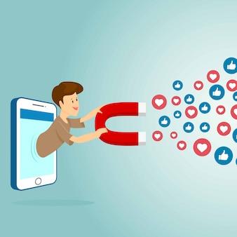 心と好きな人を引き付ける磁石を備えたモバイルスマートフォン。ソーシャルメディアマーケティングの概念。シンプルなフラットデザイン。ベクトルイラスト。