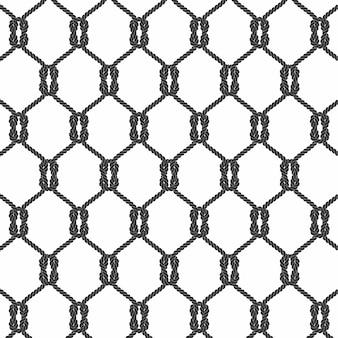 白い背景ベクトルと黒ロープシームレスパターン。