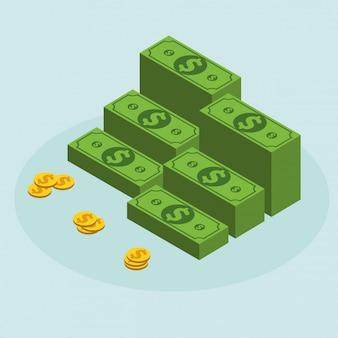 Простой бизнес плоский вектор наличных денег значок дизайн шаблона.