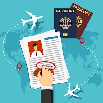 ビザのスタンプ。パスポートまたはビザの申請。旅行入国スタンプ、ベクトル