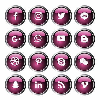 Коллекция логотипов в социальных сетях. вектор