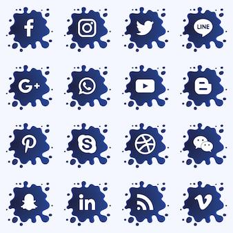 Социальные медиа опускают третью коллекцию с брызгами краски. вектор