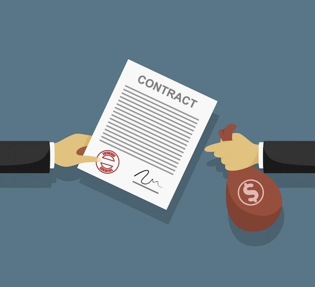 Взятка по контракту. бизнесмен платит за контракт. коррупция в бизнесе.