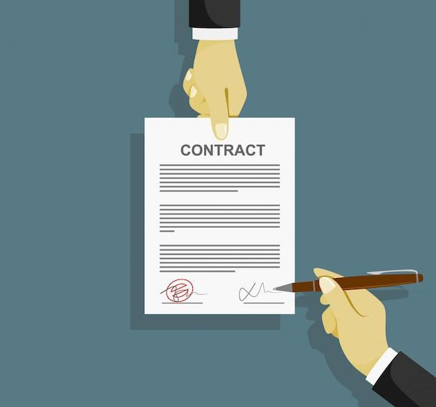 署名契約書書類に署名します。