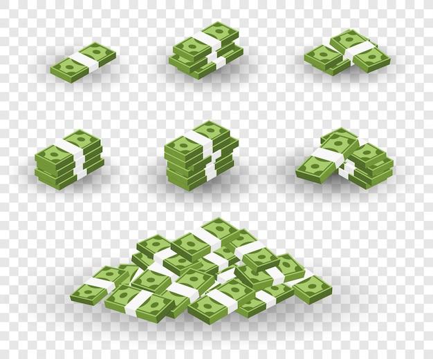 お金のセット。銀行券のバンドルでの梱包。透明な背景に分離されました。