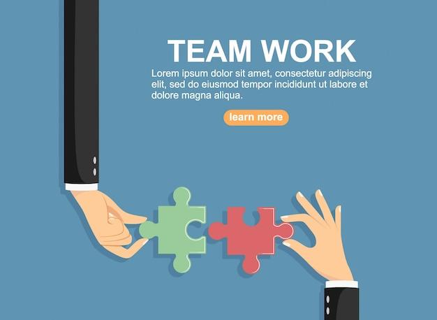 Руки положить кусочки головоломки. концепция совместной работы и бизнеса