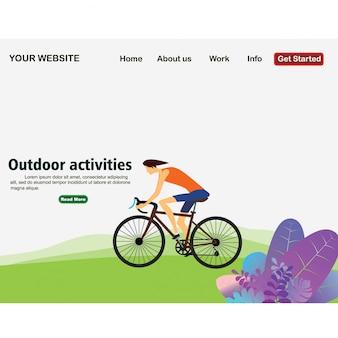 野外活動、男は自転車に乗る