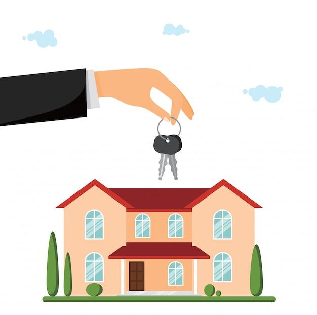 売り別荘またはカントリーハウス。鍵を与える手