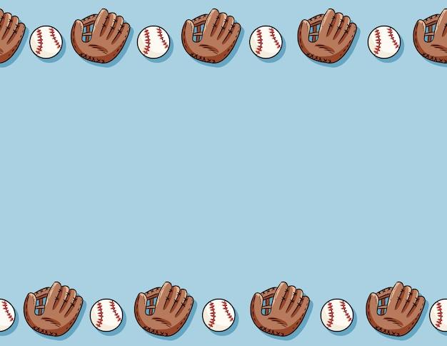 野球ボールと手袋のシームレスパターン