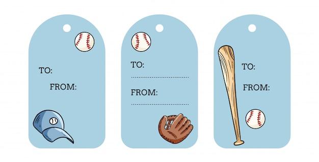 野球オブジェクトギフトタグ。ボール、バット、帽子、キャッチャーグローブ落書きラベル。手描きセット