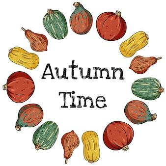 かわいいカラフルなカボチャと秋の時間装飾的な花輪バナー。秋の収穫のはがき