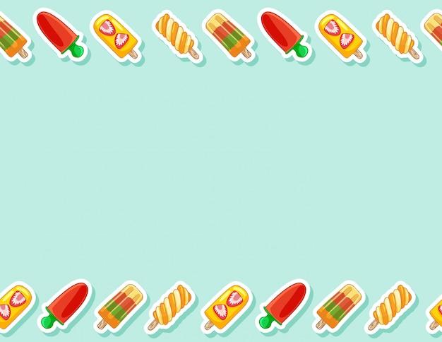 フルーツアイスポップシクルロリポップアイスクリームシームレスパターン。かわいい漫画スタイルの背景テクスチャタイル