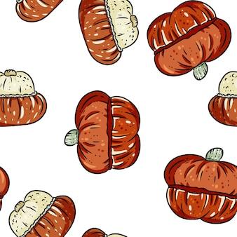 かわいいターバンカボチャ漫画のシームレスパターン。
