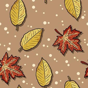 かわいい秋のカエデとニレの葉漫画のシームレスなパターン。