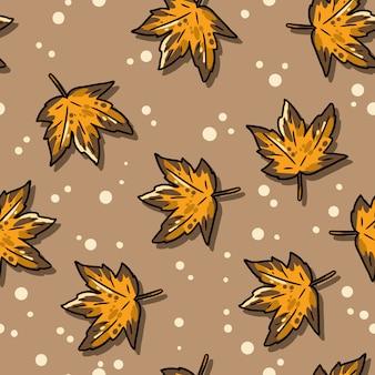 かわいい秋のカエデの葉漫画のシームレスなパターン。
