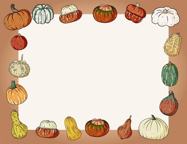 カボチャと秋のかわいい居心地の良いバナー。秋のお祝いポスター