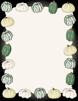 Осенняя милая уютная рамка с тыквами