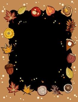 トレンディな秋要素フレームと秋のかわいい居心地の良い黒板