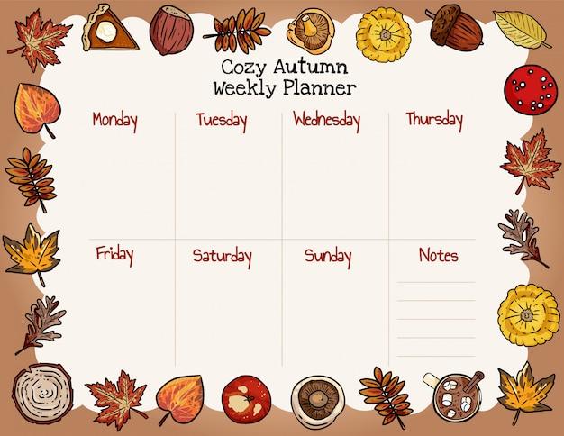 居心地の良い秋のウィークリープランナーと秋の要素の飾りリストを行います。