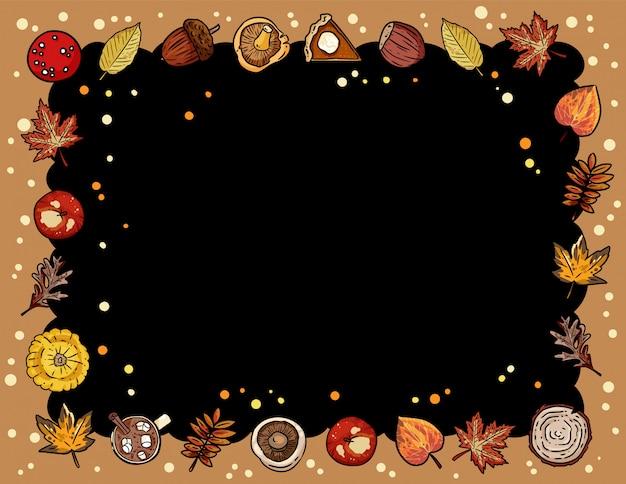 トレンディな秋の要素を持つ秋のかわいい居心地の良い黒板バナー