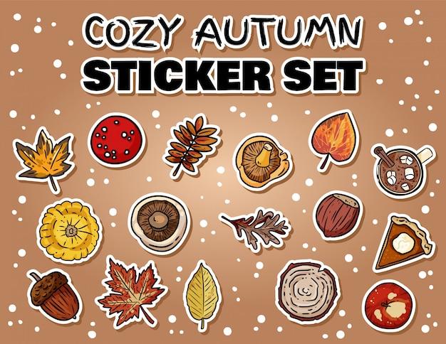 かわいい漫画秋ステッカーのセット。