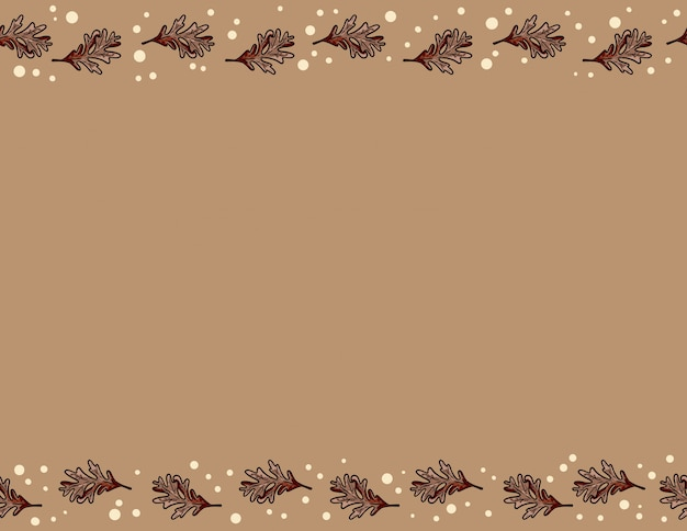 かわいい秋のオークの葉のシームレスなパターン。秋の装飾背景テクスチャタイル。テキスト用のスペース
