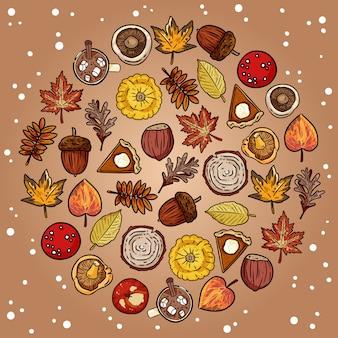 円でいたずら書きかわいい秋要素のセット
