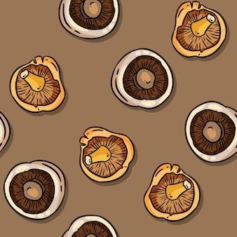 Симпатичные осенние лисички и шампиньоны грибы бесшовные модели