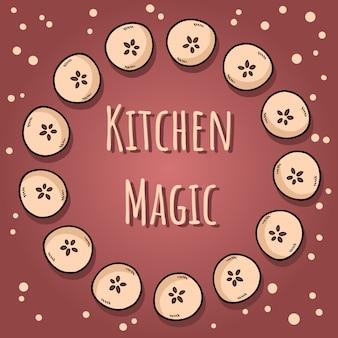 キッチンの魔法。半分リンゴのかわいいカット自然描かれた装飾的な花輪居心地の良いバナー