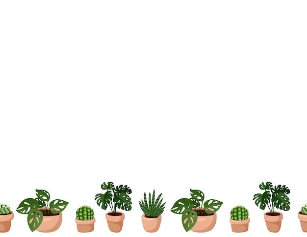 ヒッジのかわいいセット鉢植え多肉植物のシームレスなパターンの境界線