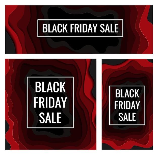Черная пятница набор баннеров для магазинов и соцсетей в стиле вырезки из бумаги