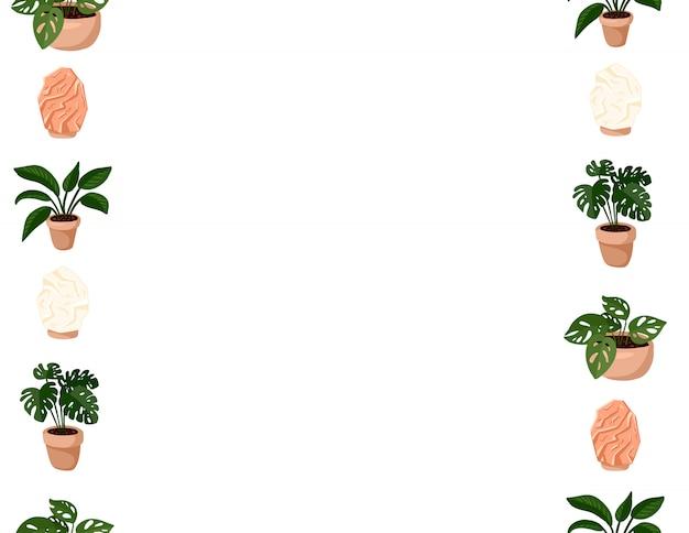 ヒッジのかわいいセットは、多肉植物とヒマラヤの塩ランプのシームレスパターンを鉢植え