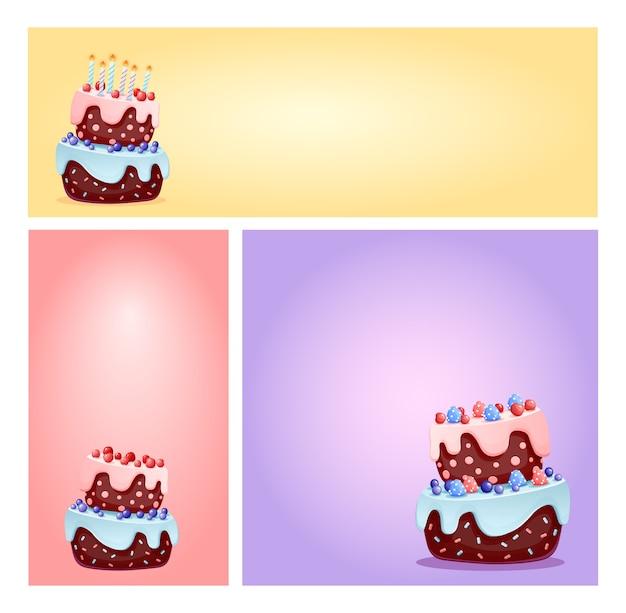 バナーやカードの背景のキャンドルとベリーのセットでかわいい漫画お祝いケーキ。チョコレートはソーシャルメディアをビスケットし、テンプレートを強調します。パーティー、誕生日ベクトルデザイン