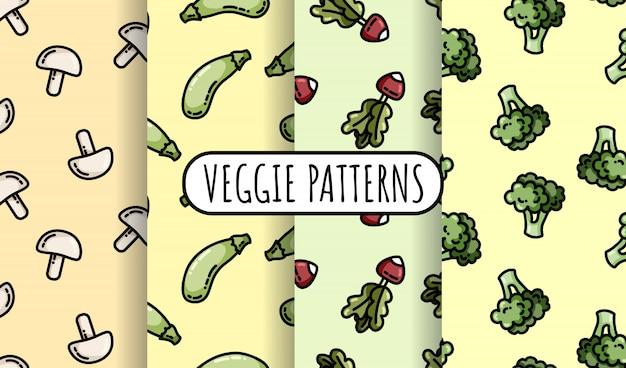 カラフルな野菜のシームレスパターンのセット。背景テクスチャタイルのフラットなデザインコレクション