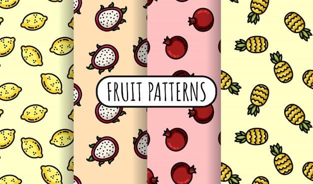 カラフルなフルーツのシームレスパターンのセット。