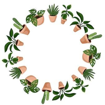 多肉植物のかわいい漫画スタイルの花輪飾り