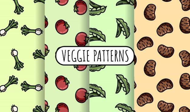 カラフルな野菜のシームレスパターンのセット。