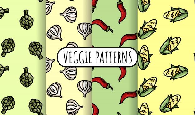 カラフルな野菜のシームレスパターンのセット。フラットデザインコレクション