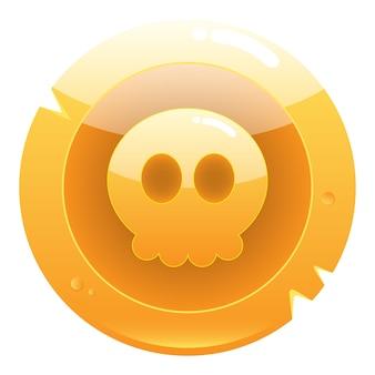 Золотой значок пиратской игры с милым черепом