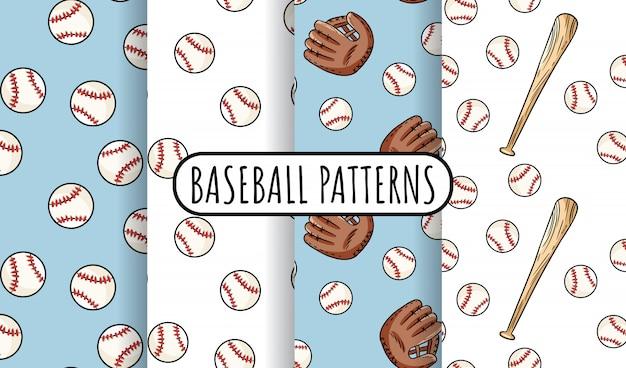 野球のシームレスパターンのコレクション。かわいい落書き手描き野球背景テクスチャタイルセット