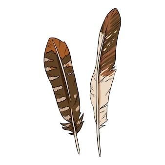かわいい漫画の羽の落書き。