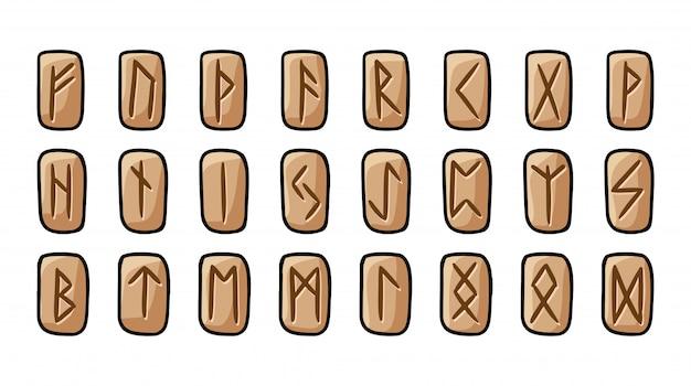 木製のルーン文字のセット。木のコレクションには、彫刻が施されたルーン文字の落書きが描かれています。ケルトのグリフのベクトルイラスト