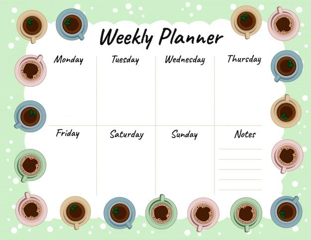 Чай и кофейные чашки еженедельно планировщик и список дел.