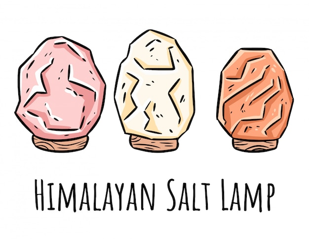 Гималайские соляные лампы каракули. современное местное изображение с кристаллами соли. релакс концепции символов